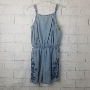 Mossimo | Chambray Romper with Embroidery